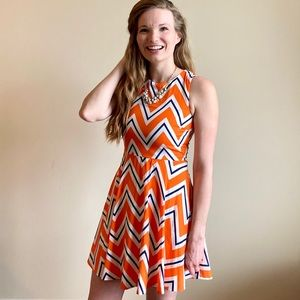 Everly orange & blue chevron fit & flare dress